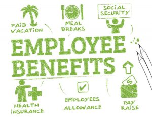 44180496 - employee benefits. chart with keywords and icons