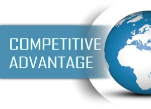 48851864 - competitive advantage concept with globe on white background